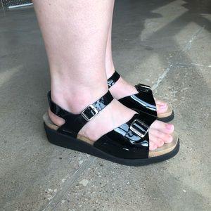 Black Patent Mephisto Sandal 42